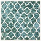 Winston Porter Bertok Geometric Handmade Wool Turquoise/Ivory Area Rug Wool in Brown/White, Size 0.63 D in   Wayfair VKGL4362 30574965