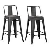 """AC Pacific Modern Industrial Metal Barstool with Bucket Back and 4 Leg Design, 24"""" Seat Bar Stools (Set of 2), Matte Black Finish"""