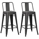 """AC Pacific Modern Light Weight Industrial Metal Bucket Back Barstool, 30"""" Seat Height Counter Stool (Set of 2), Matte Black Finish"""