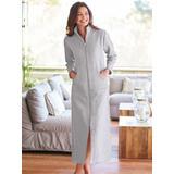 Women's Plus Long Zip-Front Fleece Robe, Heather Gray Grey XL