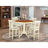 East West Furniture JAVN5-WHI-C 5-Piece Dining Room Set - Round Top Dining Table - 4 Dining Chairs Slatted Back and Linen Fabric Seat (Buttermilk & Cherry Finish)