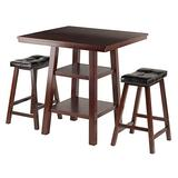 Winsome Wood Orlando 3 Piece Set High Table, 2 Shelves with 2 Cushion Seat Stools