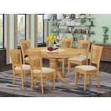 East-West Furniture AVVA7-OAK-C mid-century dining table set- 6 Fantastic dining chairs - A Wonderful round dining table- Linen Fabric seat and Oak Finnish Butterfly Leaf wood dining table
