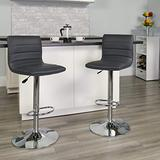 Flash Furniture 2 Pack Modern Gray Vinyl Adjustable Bar Stool with Back, Counter Height Swivel Stool with Chrome Pedestal Base
