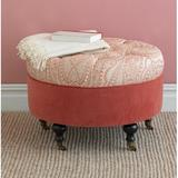 Eastern Accents Rena Professional Cocktail Ottoman Polyester/Polyester Blend in Orange, Size 19.0 H x 31.0 W x 31.0 D in | Wayfair OTD-393