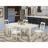 East-West Furniture 5-piece Kitchen dining table set 4 Great wood chairs - A Stunning rectangular wooden dining table- Wooden Seat and Linen White Butterfly leaf rectangular kitchen table