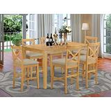 East West Furniture CAPB7H-OAK-C Dining Table Set 7 Pc - Linen Fabric Dining Room Chairs Seat - Oak Finish Dining Table and Frame