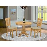 East West Furniture ANVA3-OAK-C 3 Pc Room Set – 2 Chairs with Linen Fabric Seat and Slatted Back-Round Top and Pedestal Legs Dining Table (Oak Finish)