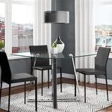Ivy Bronx Lowestoft Dining Table Glass/Metal in Gray, Size 29.5 H x 42.0 W x 42.0 D in | Wayfair WADL7659 31316819