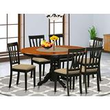 East West Furniture AVAT7 BLK C Kitchen table set 6 Great kitchen chairs A Gorgeous kitchen table Linen Fabric seat Cherry and Black Finish Butterfly Leaf mid century dining table