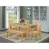 East West Furniture Rectangular Dining Table Set 6 Piece - Wooden Dining Chairs Seat - Oak Finish Dining Room Table and Kitchen Bench