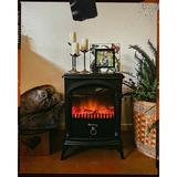 """e-Flame USA Hamilton Electric Stove in Bronze/Red/White, Size 22""""-23""""H X 15""""-16""""W X 10""""-18""""D 