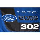NeoPlex Ford Boss 302 Polyester 24 x 36 in. House Flag in Black/Blue, Size 24.0 H x 36.0 W in | Wayfair F-1922
