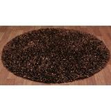Brown Shimmer Shag (3'x3') Round Rug