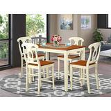 East West Furniture YAKE5-WHI-W, 5-piece, Buttermilk & Cherry