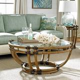 Tommy Bahama Home Twin Palms Coffee Table Wood/Glass in Brown, Size 18.75 H x 42.0 W x 42.0 D in | Wayfair 01-0558-943