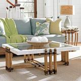 Tommy Bahama Home Twin Palms Coffee Table Rattan/Wicker/Glass in Brown/Gray, Size 16.75 H x 48.25 W x 48.25 D in | Wayfair 01-0558-947