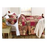 Plow & Hearth Floral Patchwork Cotton Blanket Cotton in Red, Size 60.0 H x 50.0 W in   Wayfair 91384
