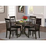 East West Furniture Wooden Dining Table Set- 4 Great Dining Room Chairs - A Lovely Round Dining Table- Faux Leather Seat and Cappuccino Finish Round Wooden Table