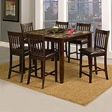 Alpine Furniture Capitola Faux Marble Counter Height Pub Table with Lazy Susan