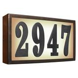 Qualarc Serrano Lighted 1-Line Wall Address Plaque Metal in Brown, Size 5.5 H x 10.5 W x 2.0 D in | Wayfair SRST-AB60-BRZ