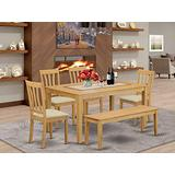 East West Furniture CAAN6-OAK-C Wood Dining Table Set 6 Piece - Linen Fabric Modern Dining Chairs Seat - Oak Finish Small Table and Bench