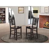 East-West Furniture Buckland counter height bar stools - Wooden Seat and Black Hardwood Frame counter height chairs set of 2