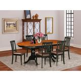 Lark Manor™ Zellmer 7 - Piece Butterfly Leaf Rubberwood Solid Wood Dining Set Wood/Upholstered Chairs in Black/Brown, Size 30.0 H in | Wayfair