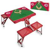 """Red Cincinnati Reds Field Portable Picnic Table"""