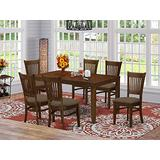 East West Furniture LYVA7-ESP-C 7-Pc Dining Set – 6 Dining Room Chairs and Dining Table - Rectangular Table Top – Slatted Back and Linen Fabric Chair Seat (Mahogany Finish)