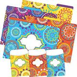 Barker Creek Designer File Folder and Library Pocket Set, Moroccan, 12 Colorful File Folders and 36 Coordinating Peel & Stick Library Pockets, Home, School and Office Supplies (3545)