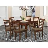 East West Furniture MILA7-MAH-C 7-Piece Dining Room Set – 6 Dining Chairs and Kitchen Table – Rectangular Table Top – Ladder Back and Linen Fabric Chair Seat (Mahogany Finish)