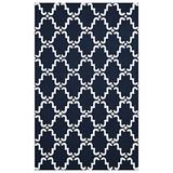 SUPERIOR 5' x 8' NavyBlue/White Moroccan Lattice Area Rug, Hand-Hooked Wool Blend, 5-feet by 8-feet