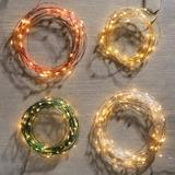 Outdoor Battery Operated Micro Lights - Copper/Warm White - Grandin Road