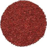 Pelle Leather Shag Round Rug, 4 by 4-Feet, Red
