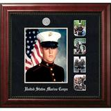 Patriot Frames Marine Portrait Executive Picture Frame Wood in Black/Brown/Red, Size 15.75 H x 17.75 W x 1.5 D in   Wayfair MAPEX002S