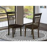East West Furniture Capri kitchen dining chairs - Wooden Seat and Cappuccino Finish Solid Wood Frame dining room chair set of 2