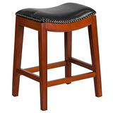 """Flash Furniture 26'' High Backless Light Wood Counter Height Black Leather Saddle Seat 26"""" No Back Lt Cherry Stool, One Size"""