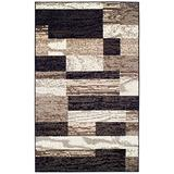 SUPERIOR Modern Rockwood Collection Area Rug, Modern Area Rug, 8 mm Pile, Geometric Design with Jute Backing, Chocolate, 5' x 8'