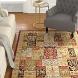 Alcott Hill® Maggio Oriental Ruby Red/Fossil Gray/Black Area Rug Polypropylene in Black/Brown/Gray, Size 72.0 H x 48.0 W x 0.43 D in | Wayfair