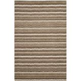 Latitude Run® Keith Natural Stripe Wool Off-White/Light Brown Area RugWool in Brown/White, Size 72.0 H x 48.0 W x 0.63 D in | Wayfair