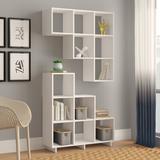 "Latitude Run® Cleo 38.58"" H x 36.22"" W Step Bookcase Wood in White, Size 38.58 H x 36.22 W x 11.41 D in   Wayfair LATR4235 32930051"