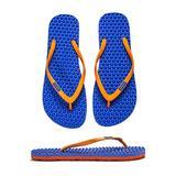 bumpers Women's Slim Massage Flip Flop (7-8 US / 37-38 EU, Blue & Orange)