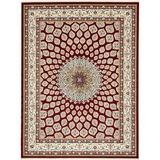 Astoria Grand Jackson Oriental Burgundy/Cream Area Rug Polyester/Polypropylene in Brown/Red/White, Size 96.0 W x 0.5 D in   Wayfair