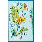Zoomie Kids Rhea Kids Animal World Map Area Rug Nylon in Blue/Green, Size 89.0 H x 60.0 W x 0.5 D in | Wayfair ZMIE1814 33060800