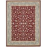 Astoria Grand Jackson Oriental Burgundy Area Rug Polyester/Polypropylene in Brown/Red, Size 156.0 H x 120.0 W x 0.33 D in   Wayfair