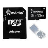 Smart Buy Micro SDHC Class 4 TF Flash Memory Card SD HC C4 for Camera Mobile Phone Tab GPS MP3 TV + Adapter + Mini Case (32GB (1-Pack))