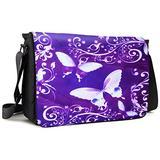 Meffort Inc 15 15.6 Inch Laptop Padded Compartment Shoulder Messenger Bag with Shoulder Pad - Purple Butterflies
