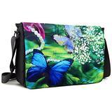 Meffort Inc 15 15.6 Inch Laptop Padded Compartment Shoulder Messenger Bag with Shoulder Pad - Green Leaves Butterfly