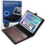Cooper Backlight Executive Keyboard Case for 9-10.5 inch Tablets   Universal Fit   2-in-1 Bluetooth Keyboard & Leather Folio, 7 Color Backlit (Black)